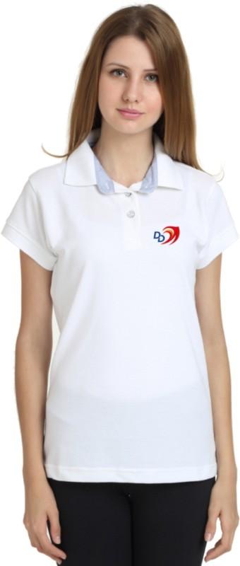Delhi Daredevils Solid Women Polo Neck Multicolor T-Shirt
