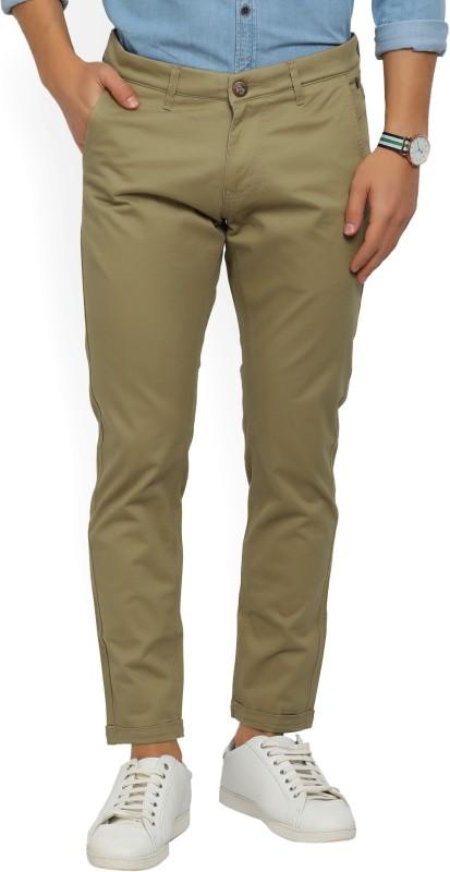 Spykar Slim Fit Mens Brown Trousers