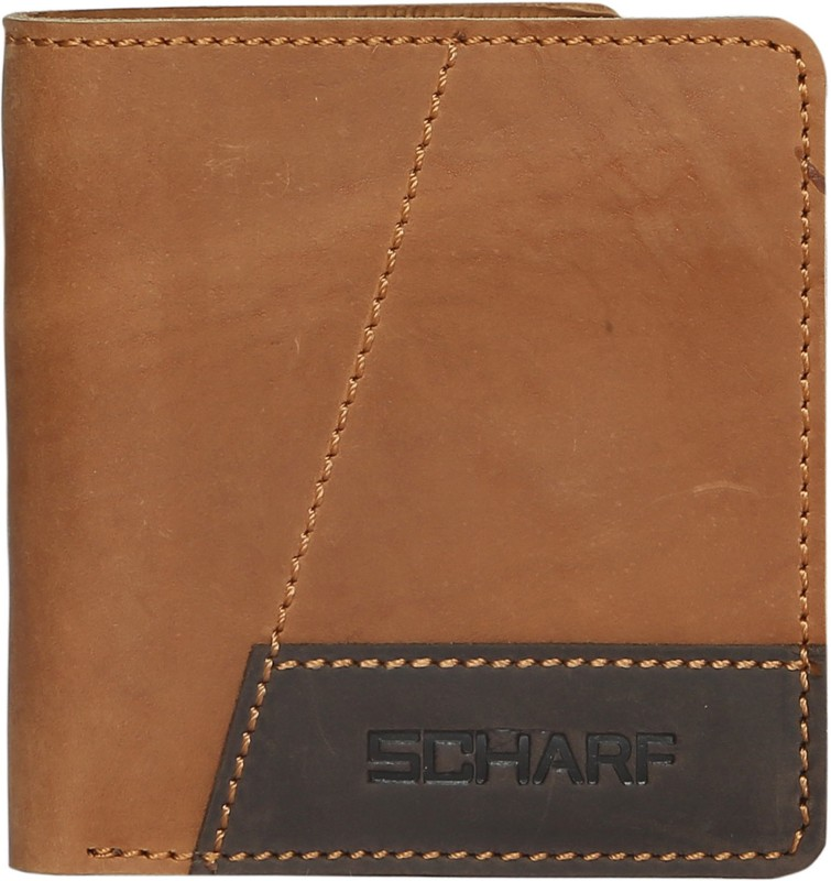 SCHARF Men Tan Genuine Leather Wallet(4 Card Slots)