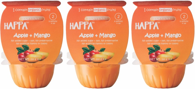 happa Organic Apple + Mango Puree, Baby food for 6 months+, Stage-2, Cereal(660 g, Pack of 6)