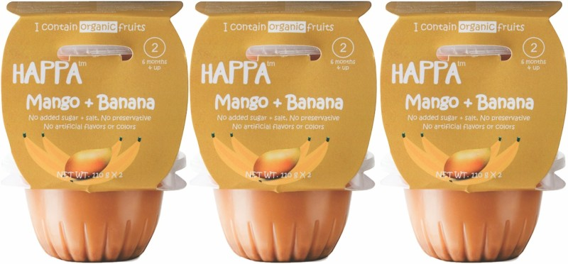 happa Organic Stage-2, Mango + Banana Puree, Baby food for 6 months+ Cereal(660 g, Pack of 6)