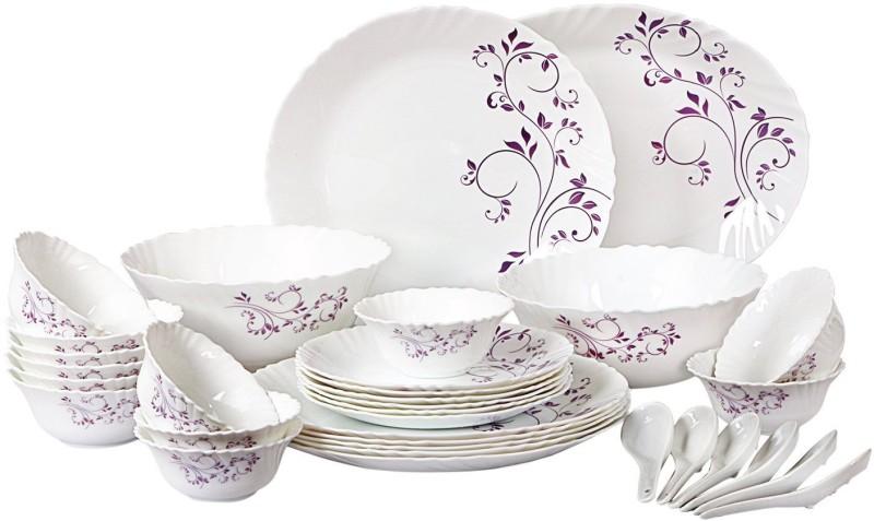 Cello present IMPERIAL Purple hues Dinner Set of 33 pcs {{Dinner plate 11(6 pcs) || Quarter plate (6 pcs) || Oval platter (1 Pcs) || Veg bowl (6 Pcs) || Soup Bowl (6 pcs) || Spoon (6 pcs) || Serving bowl medium (2 Pcs)}} Pack of 33 Dinner Set(Opalware)