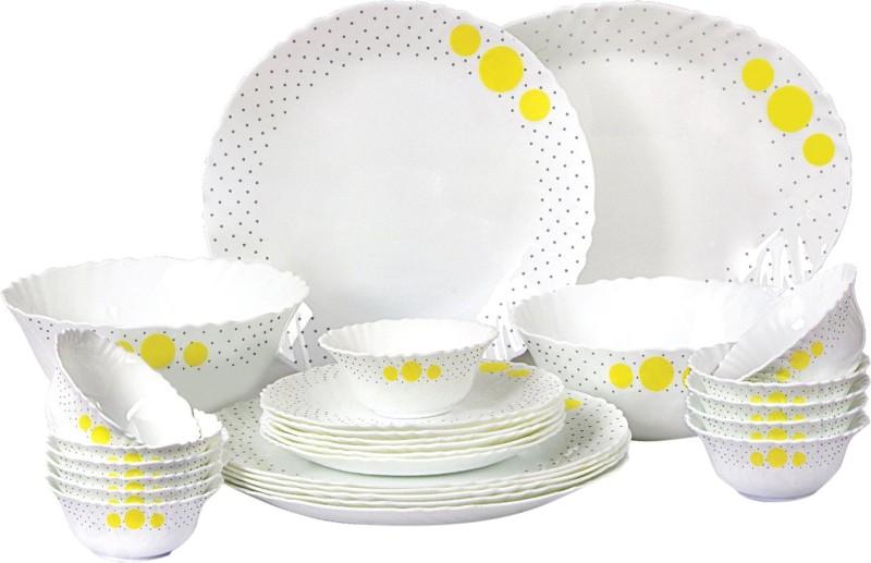 Cello present IMPERIAL Polka Drops Dinner Set of 27 pcs {{Dinner plate 11(6 pcs) || Quarter plate (6 pcs) || Oval platter (1 Pcs) || Veg bowl (6 Pcs) || Soup Bowl (6 pcs) || Serving bowl medium (2 Pcs)}} Pack of 27 Dinner Set(Opalware)