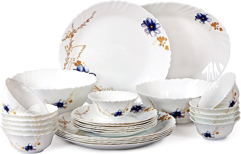 Cello present IMPERIAL Pot pourri Dinner Set of 27 pcs {{Dinner plate 11(6 pcs) || Quarter plate (6 pcs) || Oval platter (1 Pcs) || Veg bowl (6 Pcs) || Soup Bowl (6 pcs) || Serving bowl medium (2 Pcs)}} Pack of 27 Dinner Set(Opalware)