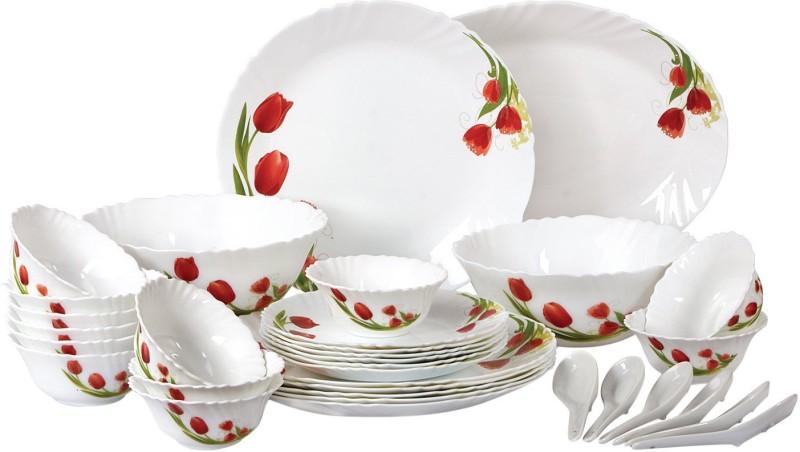 Cello present IMPERIAL Red bloom Dinner Set of 33 pcs {{Dinner plate 11(6 pcs) || Quarter plate (6 pcs) || Oval platter (1 Pcs) || Veg bowl (6 Pcs) || Soup Bowl (6 pcs) || Spoon (6 pcs) || Serving bowl medium (2 Pcs)}} Pack of 33 Dinner Set(Opalware)