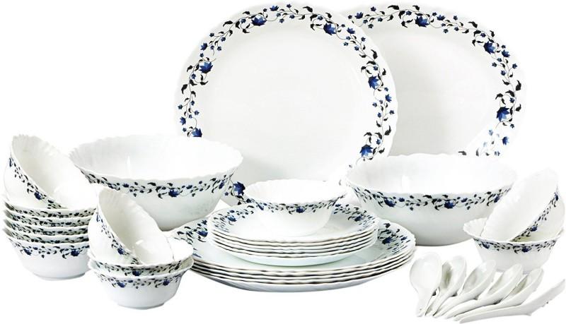 Cello present IMPERIAL Vinea Dinner Set of 33 pcs {{Dinner plate 11(6 pcs) || Quarter plate (6 pcs) || Oval platter (1 Pcs) || Veg bowl (6 Pcs) || Soup Bowl (6 pcs) || Spoon (6 pcs) || Serving bowl medium (2 Pcs)}} Pack of 33 Dinner Set(Opalware)