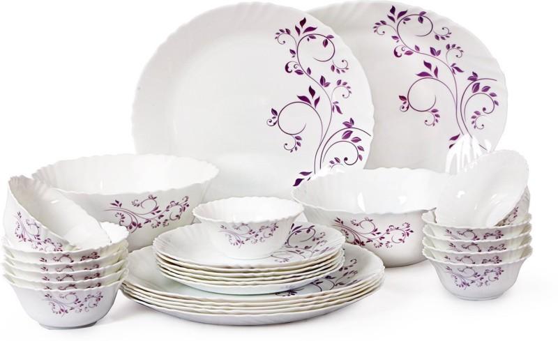 Cello present IMPERIAL Purple hues Dinner Set of 27 pcs {{Dinner plate 11(6 pcs) || Quarter plate (6 pcs) || Oval platter (1 Pcs) || Veg bowl (6 Pcs) || Soup Bowl (6 pcs) || Serving bowl medium (2 Pcs)}} Pack of 27 Dinner Set(Opalware)