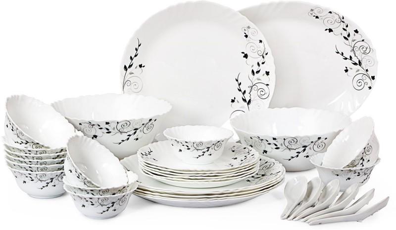 Cello present IMPERIAL Ornate Black Dinner Set of 33 pcs {{Dinner plate 11(6 pcs) || Quarter plate (6 pcs) || Oval platter (1 Pcs) || Veg bowl (6 Pcs) || Soup Bowl (6 pcs) || Spoon (6 pcs) || Serving bowl medium (2 Pcs)}} Pack of 33 Dinner Set(Opalware)