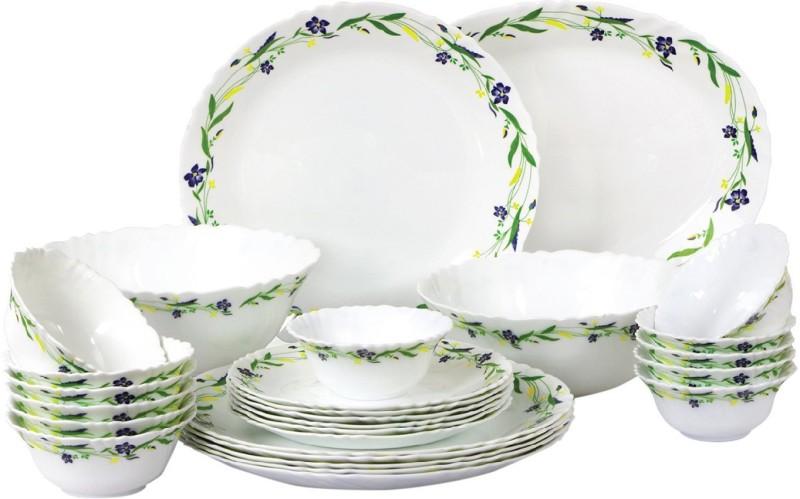 Cello present IMPERIAL Amazon Creeper Set of 27 pcs {{Dinner plate 11(6 pcs) || Quarter plate (6 pcs) || Oval platter (1 Pcs) || Veg bowl (6 Pcs) || Soup Bowl (6 pcs) || Serving bowl medium (2 Pcs)}} Pack of 27 Dinner Set(Opalware)