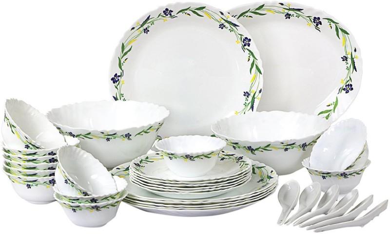 Cello present IMPERIAL Amazon Creeper Set of 33 pcs {{Dinner plate 11(6 pcs) || Quarter plate (6 pcs) || Oval platter (1 Pcs) || Veg bowl (6 Pcs) || Soup Bowl (6 pcs) || Spoon (6 pcs) || Serving bowl medium (2 Pcs)}} Pack of 33 Dinner Set(Opalware)