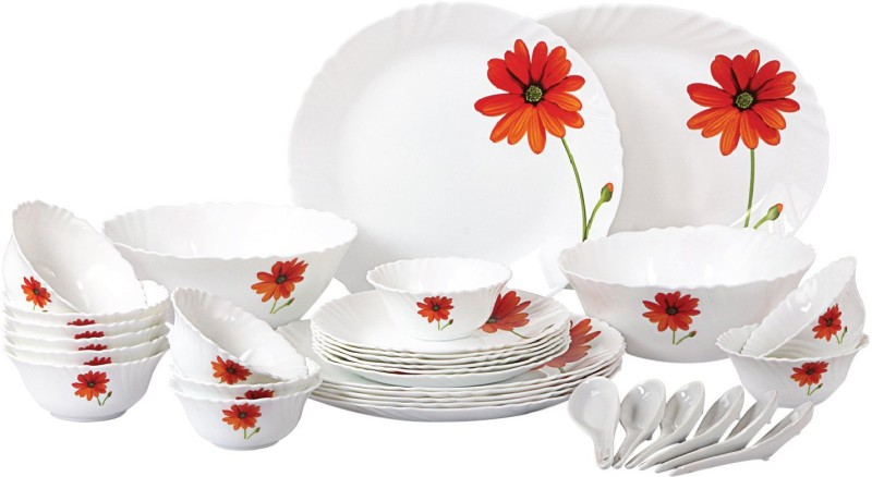 Cello present IMPERIAL Mandarin Orange Dinner Set of 33 pcs {{Dinner plate 11(6 pcs) || Quarter plate (6 pcs) || Oval platter (1 Pcs) || Veg bowl (6 Pcs) || Soup Bowl (6 pcs) || Spoon (6 pcs) || Serving bowl medium (2 Pcs)}} Pack of 33 Dinner Set(Opalware)