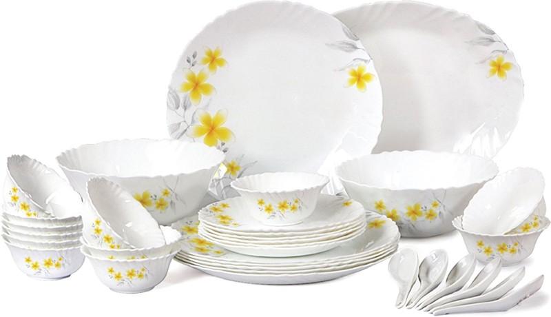 Cello present IMPERIAL Frangipani Dinner Set of 33 pcs {{Dinner plate 11(6 pcs) || Quarter plate (6 pcs) || Oval platter (1 Pcs) || Veg bowl (6 Pcs) || Soup Bowl (6 pcs) || Spoon (6 pcs) || Serving bowl medium (2 Pcs)}} Pack of 33 Dinner Set(Opalware)