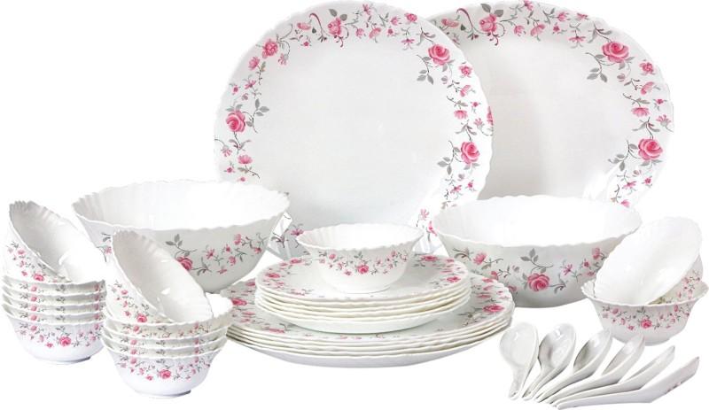 Cello present IMPERIAL Rose Fantasy Dinner Set of 33 pcs {{Dinner plate 11(6 pcs) || Quarter plate (6 pcs) || Oval platter (1 Pcs) || Veg bowl (6 Pcs) || Soup Bowl (6 pcs) || Spoon (6 pcs) || Serving bowl medium (2 Pcs)}} Pack of 33 Dinner Set(Opalware)