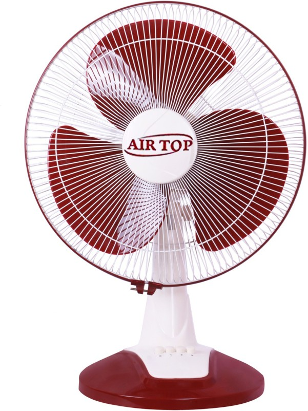 Airtop 16 Table Fan High Speed 3 Blade Table Fan(White Red)