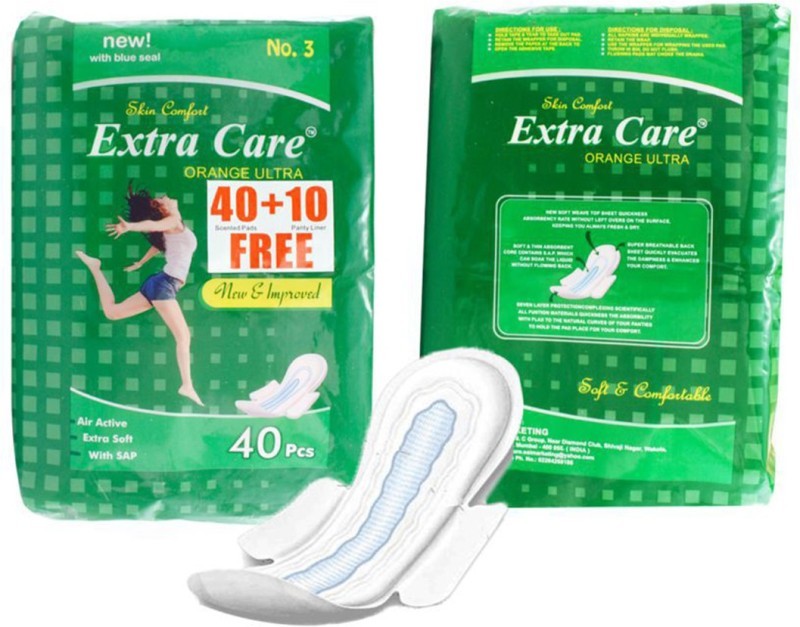 Extra Care Sanitary Pad Green 40+10 XXL For-Women,Girls Sanitary Pad