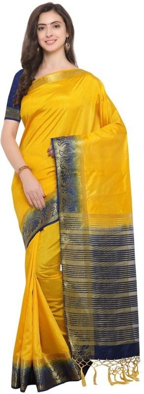 SNH Export Solid Bollywood Jacquard Saree(Blue, Yellow)