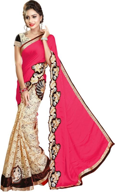 Pragati Fashion Hub Embroidered Fashion Satin, Brasso Saree(Magenta)