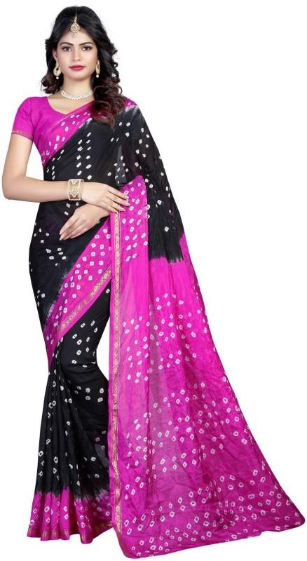 SNH Export Self Design Bandhani Tussar Silk Saree(Pink, Black)