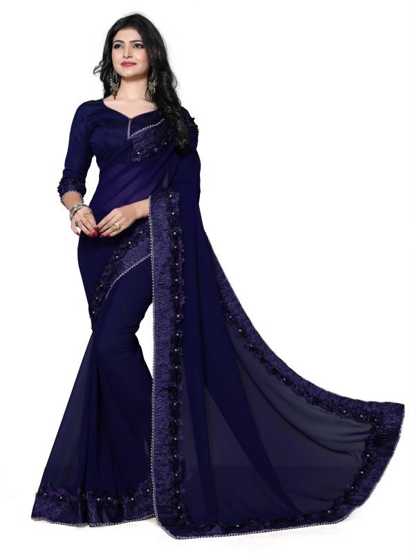 Fab Valley Self Design Fashion Georgette Saree(Blue)