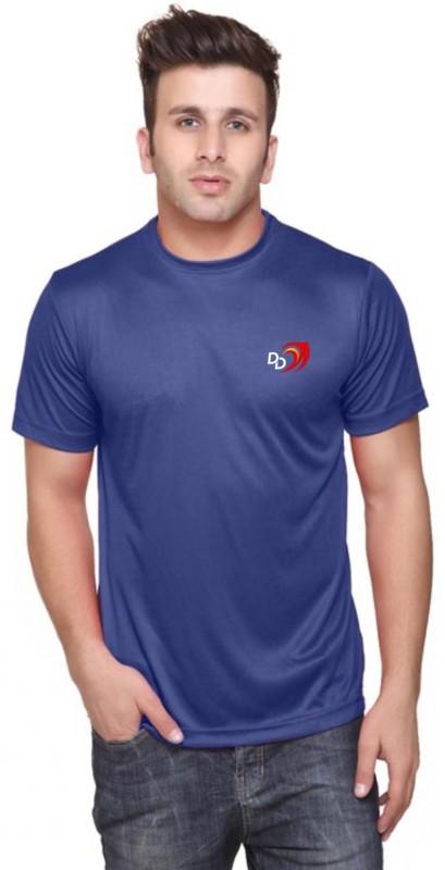 Delhi Daredevils Solid Men Round Neck Blue T-Shirt