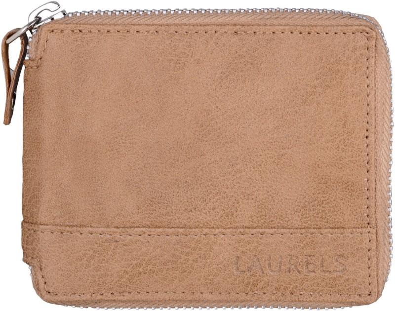 Laurels Men Beige Genuine Leather Wallet(4 Card Slots)