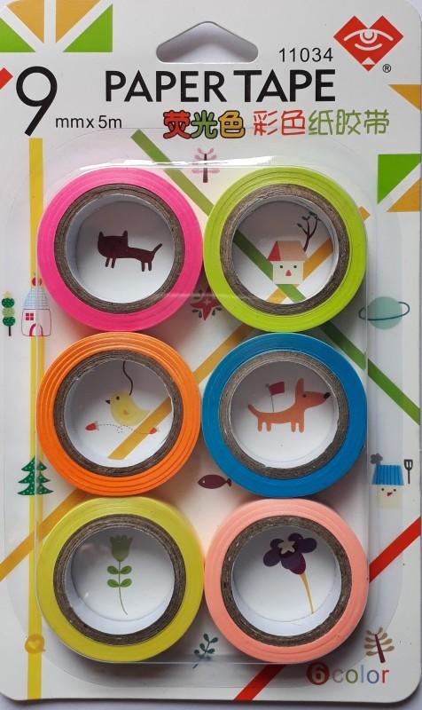 BestUBuy Multicolor Plain Paper Tape 9mm x 5m Drafting Tape(9 mm x 5 m)