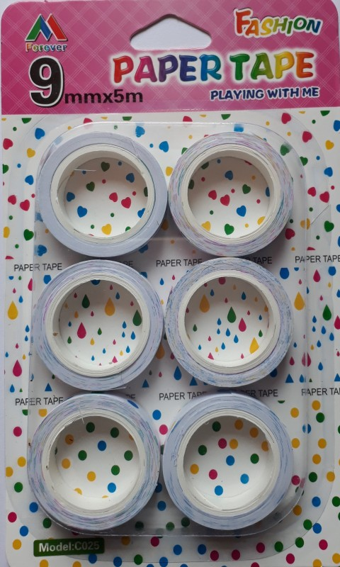 BestUBuy Star, Dots, Music Note, Leaf, Heart and Drops Design Paper Tape Drafting Tape(9 mm x 5 m)