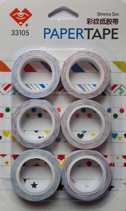 BestUBuy Star, Dot, Heart, Flower and Strips Design Paper Tape Drafting Tape(9 mm x 5 m)