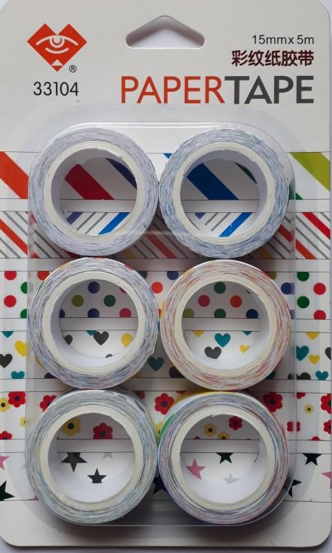 BestUBuy Star, Dots, Heart,Flower and Strips Design Paper Tape Drafting Tape(15 mm x 5 m)