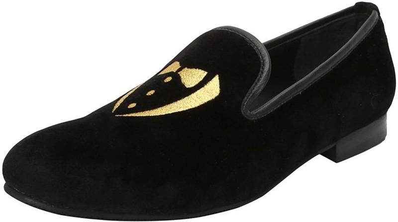 Bare Skin Bareskin golden tuxedo design embroidery italian cotton velvet slip-on shoes for men Loafers For Men(Black)