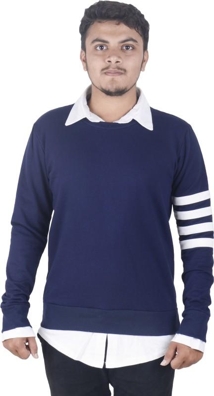 Dfine Full Sleeve Striped, Solid Men Sweatshirt