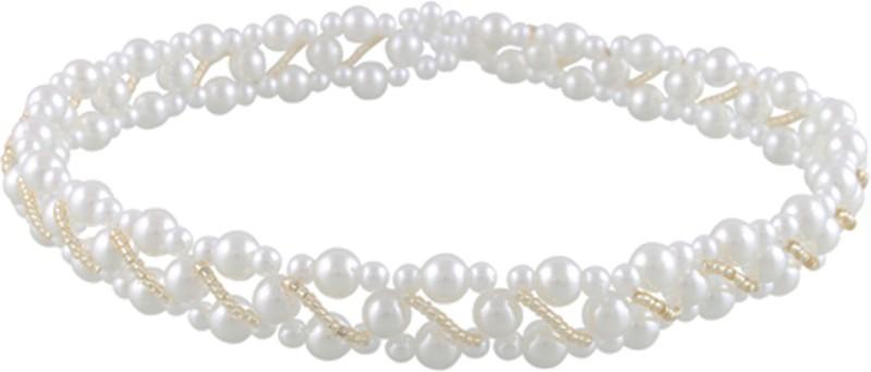 Aarushi creations pearl tiara Head Band, Hair Band(White)