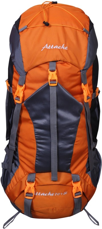 Attache 1025R Hiking Backpack (Orange) With Rain Cover Rucksack - 75 L(Orange)
