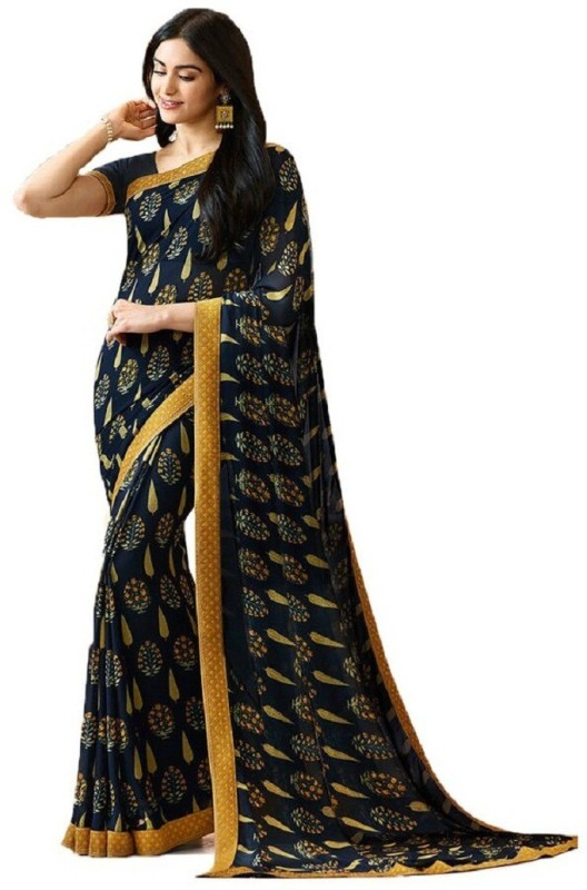 SNH Export Printed Daily Wear Georgette Saree(Yellow, Black)