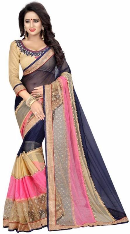 SNH Export Self Design Fashion Lycra Saree(Blue, Cream)