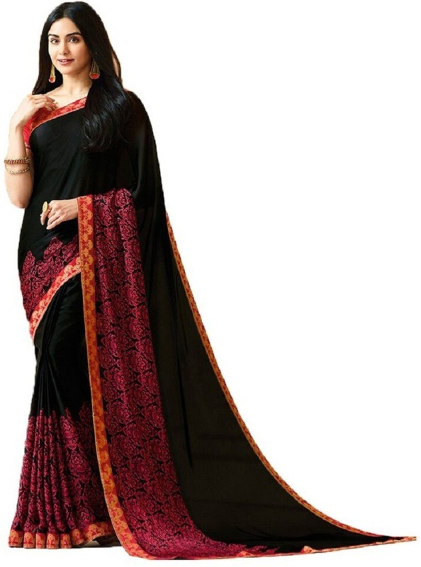 SNH Export Printed Daily Wear Georgette Saree(Black)