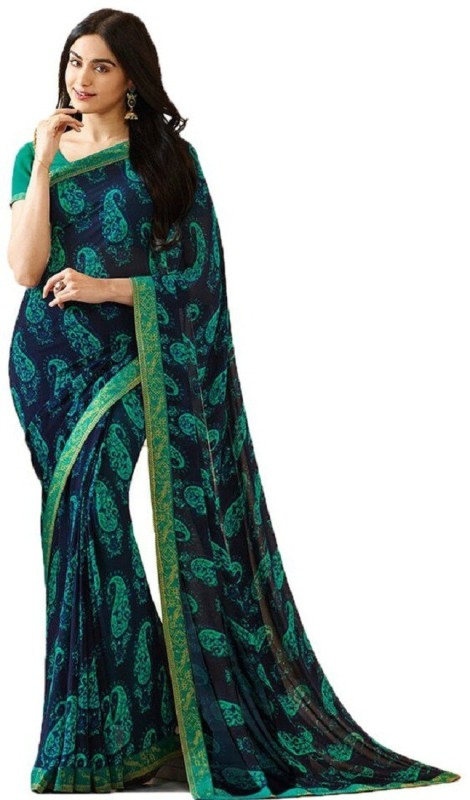 SNH Export Printed Daily Wear Georgette Saree(Black, Green)