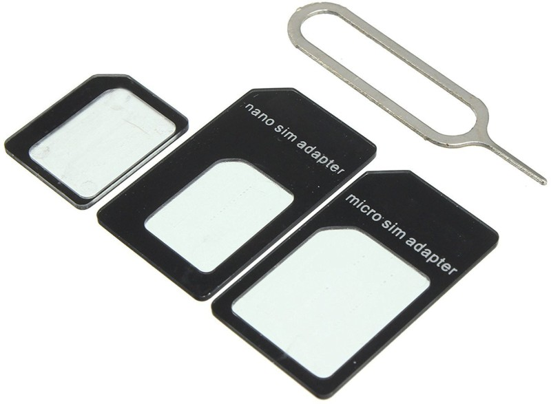 Fabulaas SIM CARD Adapter Nano To Micro - Nano To Regular - Micro To Regular With Eject Pin (Black) Sim Adapter(Plastic, Stainless steel)