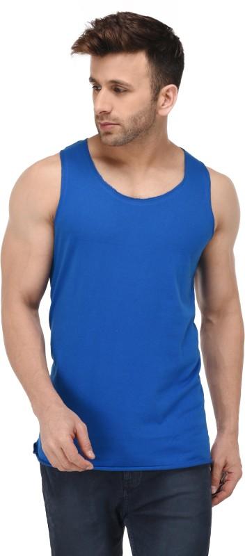 Kay Dee Solid Men Scoop Neck Blue T-Shirt