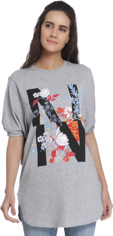 Vero Moda Casual Half Sleeve Printed Women's Grey Top