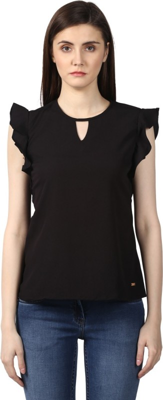 Park Avenue Formal Sleeveless Solid Women's Black Top