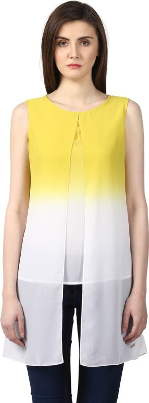 Park Avenue Casual Sleeveless Solid Women's Yellow Top