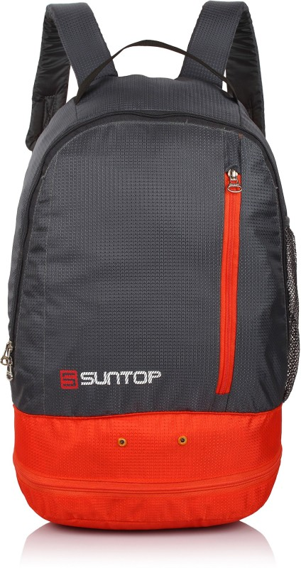 Suntop Air One 20 Litres Lightweight Backpack Bag with Shoe Compartment for Casual/Gym | Outdoor Travel Backpack For Hiking Camping 20 L Backpack(Grey, Orange)