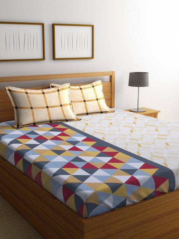 Dreamscape 140 TC Cotton Double Geometric Bedsheet(1 Bedsheet with 2 Pillowcovers, Mustard)