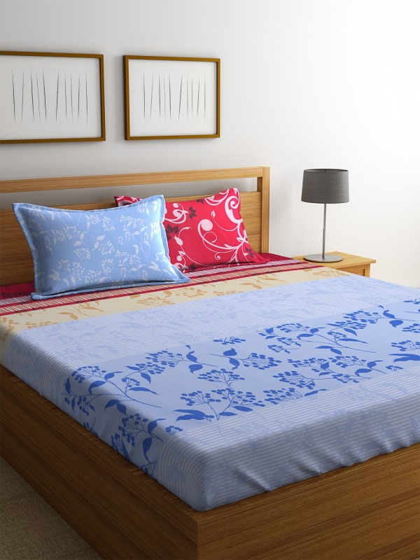 Dreamscape 140 TC Cotton Double Floral Bedsheet(1 Bedsheet with 2 Pillowcovers, Red)