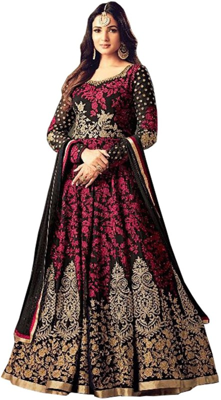 IndianEfashion Georgette Embroidered Semi-stitched Salwar Suit Dupatta Material