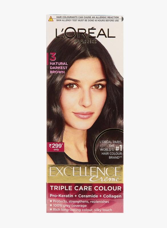LOreal Paris Excellence Crme Hair Color, 3 Natural Darkest Brown Hair Color(3 Natural Darkest Brown)
