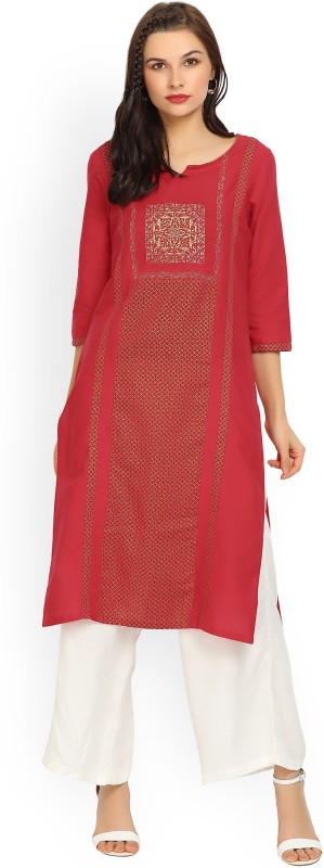 Aurelia Women Embroidered Straight Kurta(Red)