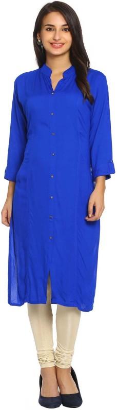 Soch Casual Solid Women Kurti(Blue)