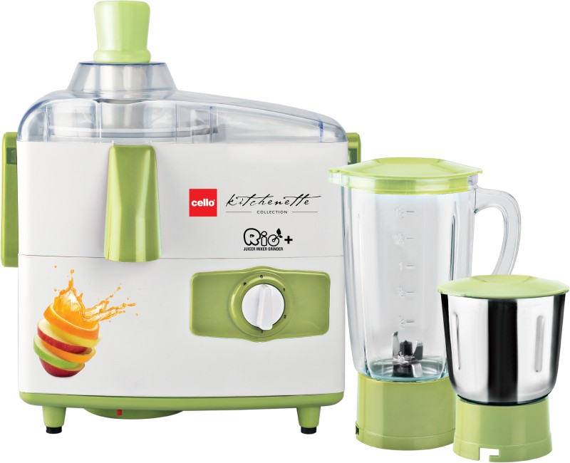 Cello RIO + 500 W Juicer Mixer Grinder(Green White, 2 Jars)